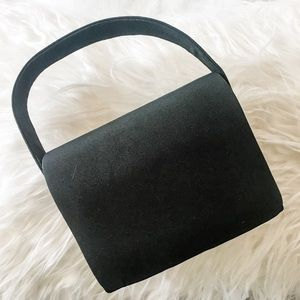 Black Evening Purse with Handle and Shoulder Strap